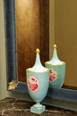 Porcelain vase beautiful by a mirror in a store showroom florence italy Royalty Free Stock Photo