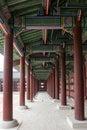 The porch between the pillars at Gyeonbokgung Palace, Seoul, South Korea Royalty Free Stock Photo