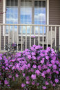 Porch with rhododendrons Royalty Free Stock Photography
