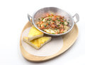 Pork bacon ege and herb with bread on fry pan breakfast menu isolate copyspace Royalty Free Stock Image