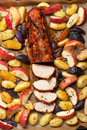 Pork baked with vegetables on a tray fillet Stock Photography