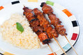 Pork barbecue sticks the most famous food for snacks meal or for dinner in the philippines Stock Photos