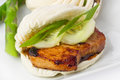 Pork belly buns braised slices on chinese steamed with hoisin sauce and green asparagus Royalty Free Stock Images