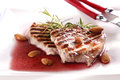 Pork chop grilled with red vine sauce Stock Photo