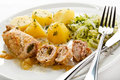 Pork chop and vegetables stuffed Royalty Free Stock Photos