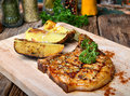 Pork chops steak charcoal grill Royalty Free Stock Photo