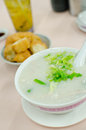 Pork congee soup with deep fried breads to eat chinese style food Stock Photo