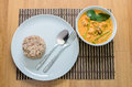 Pork curry with water spinach tae pho soup Royalty Free Stock Image