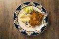Pork fillet of pork with sweet potato puree Royalty Free Stock Photo
