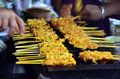 Pork fired thai style or thai pork satay moo satay is a favorite street food in thailand it s simple to make marinate meat tempeh Stock Photo