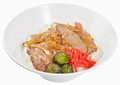Pork fresh white rice preserve and green Stock Photo