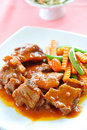 Pork with gravy Royalty Free Stock Photography
