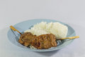 Pork grill and rice food meal white background Stock Photography