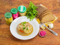 Pork jelly on white dish, bread, fork and different seasoning Royalty Free Stock Photo