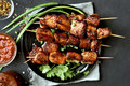 Pork kebabs, bbq meat Royalty Free Stock Photo