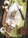 Pork lard on cooking board with bread and mustard Royalty Free Stock Photography