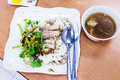 Pork leg with rice and roasts Royalty Free Stock Photography