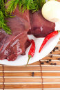 Pork liver with pepper and an onion Royalty Free Stock Photo