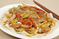Pork lo mein a delicious dinner of Royalty Free Stock Photo