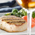 Pork loin filet dinner with wine Royalty Free Stock Photo