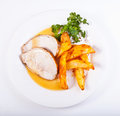 Pork loin plate Royalty Free Stock Photography