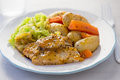 Pork loin with potato, carrot and cabbage Royalty Free Stock Photo