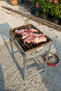 Pork meat on barbecue Royalty Free Stock Photo