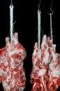 Pork Meat Hanged On A Hooks
