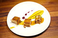 Pork meat with sweet potato puree and superfoods sauce. Royalty Free Stock Photo
