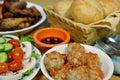 Pork meatball and salad fried chicken dinner roll Stock Photos
