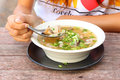 Pork and mushroom congee Royalty Free Stock Images