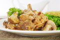 Pork Mushroom Stew Honey Mustard Sauce Royalty Free Stock Photos
