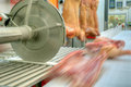 Pork processing meat food industry close up of in Stock Photos