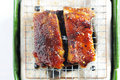 Pork ribs on a grill Royalty Free Stock Images
