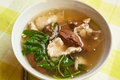 Pork s entrails and blood jelly soup tom lued moo pork blood famous asian Royalty Free Stock Image