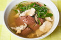 Pork s entrails and blood jelly soup tom lued moo pork blood famous asian Stock Images