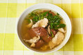 Pork s entrails and blood jelly soup tom lued moo pork blood famous asian Royalty Free Stock Photography
