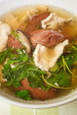 Pork s entrails and blood jelly soup tom lued moo pork blood famous asian Royalty Free Stock Images