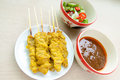 Pork satay thai style with side order Royalty Free Stock Image