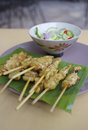 Pork satay thai traditions food with peanut sauce Royalty Free Stock Photos