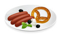Pork sausage with bavarian pretzel Royalty Free Stock Images