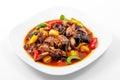 Pork, Sichuan sauce, pepper, garlic, Chinese wood mushrooms Royalty Free Stock Photo