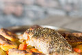 Pork sirloin roast tenderloin with roasted potatoes and plums Stock Image