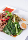 Pork stew with rice and vegetable,Thai fast food Stock Photography