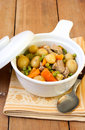 Pork stew young potato young carrot and pea Stock Images