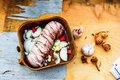 Pork tenderloin roll in pan Royalty Free Stock Photo