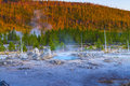 Porkchop geyser at sunset norris basin yellowstone Stock Photography