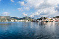 Poros island panorama greece panoramic photo of the port of Stock Images