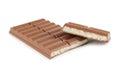 Porous chocolate on a white background Stock Photos