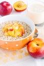 Porridge with nectarine and yogurt breakfast Royalty Free Stock Images